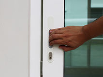 Close or Open glass door by hand Stock Images