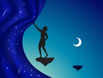 Close or open the night curtain, silhouette,. Boy or young wizard standing on flying rock with moon on stick and close or open fairy night curtain, vector Royalty Free Stock Photo
