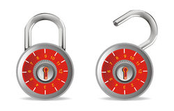 Close and open red padlock security. White isolated close and open red padlock security Stock Photo