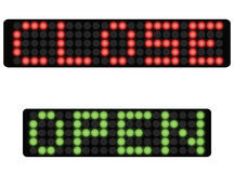 Close and open sign. Vector illustration of dot matrix neon sign with text close and open isolated vector illustration