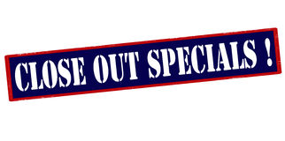 Close out specials. Rubber stamp with text close out specials inside,  illustration Stock Image