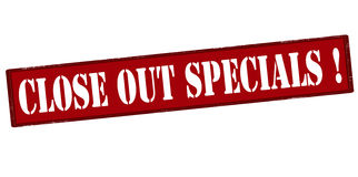 Close out specials. Rubber stamp with text close out specials inside,  illustration Royalty Free Stock Photo
