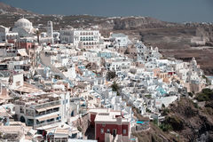 Close panoramic view of Fira, Santorini Stock Photos