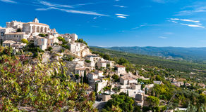 Close panoramic view of Gordes in France Stock Photos
