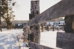 Close Photo of Brown Wooden Fence Royalty Free Stock Photography