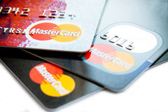 Close photo of Visa and MasterCard cards Stock Image