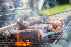 Close Photography of Grilled Meat on Griddle royalty free stock photos