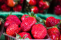 Close picture of strawberries. In the supermarket Royalty Free Stock Photography