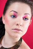 Close portait of beautiful girl with bright makeup Royalty Free Stock Photography