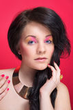Close portait of beautiful girl with bright makeup Royalty Free Stock Photos