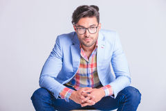 Close portrait of attractive casual man wearing glasses Stock Photo