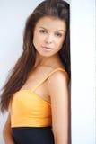 Close portrait of beautiful brunette woman stock photos