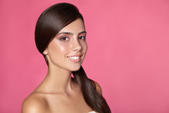 Close portrait of beautiful woman with bright make-up Stock Photography