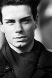 Close portrait of a beautiful young man - Black and white royalty free stock images