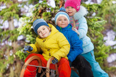 Close portrait of boys and girls on sledge Stock Images
