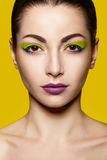 Close portrait with bright makeup Stock Photos
