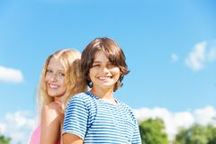 Close portrait of couple of kids Royalty Free Stock Images