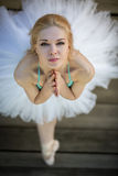 Close portrait of a cute ballerina in white tutu Stock Photography