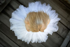 Close portrait of a cute ballerina in white tutu Stock Photo