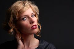 Close portrait of cute young blond fashion model,  isolated over Stock Images