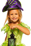 Close portrait of girl in fairy dress with lamp Royalty Free Stock Images