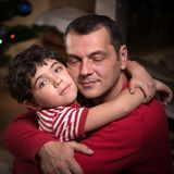 Close portrait of happy father and his adorable son 2 Stock Photo