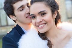 Close portrait of happy wedding couple Royalty Free Stock Photo