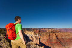 Close portrait of hiker,Grand canyon with backpack Royalty Free Stock Images