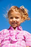 Close portrait of little girl in pink Royalty Free Stock Photos
