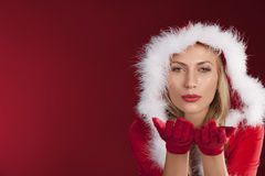 Close portrait of preety girl santa claus Stock Photo