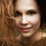 Close portrait of sensual cute woman Stock Photo