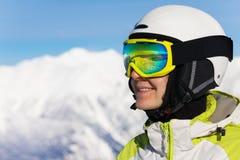 Close portrait of skier woman Stock Photo