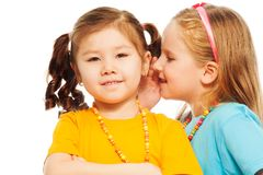 Whisper in friends ear. Close portrait of two little 6-7 years old Asian and Caucasian girls whisper telling secrets mouse to ear, isolated on white stock photography