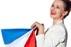 Close portrait of woman with French flag colours shopping bags Royalty Free Stock Images