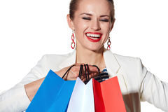 Close portrait of woman with French flag colours shopping bags Royalty Free Stock Image