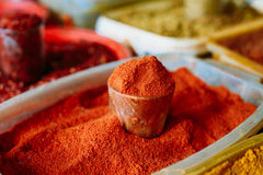 Close Of Powdered Cayenne Or Red Hot Chili Pepper On Sale At East Market Royalty Free Stock Images
