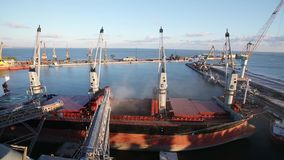 Close pPtrunk to open cargo holds at silo terminal in seaport. Cereals bulk transshipment to vessel. Transportation of. Panorama of ship loading grain crops on stock video footage