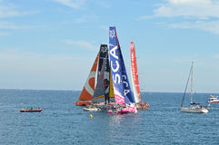 Close Quarter Yacht Racing - Sailing Boats In Volvo Ocean Race Stock Images