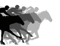 Close race. Editable vector silhouettes of a very close horse race vector illustration