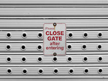 Close roll up gate sign Royalty Free Stock Photography