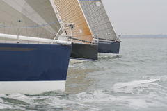 Close Run Thing. 3 Yachts racing close to each other Stock Photo