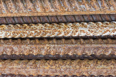 Close of rusty ribbed iron rod Royalty Free Stock Images