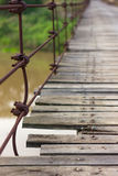 Close screw the old wooden bridge. Stock Photos