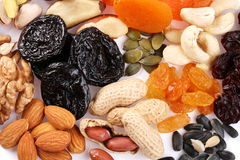 Close seeds and dried fruits Stock Photos