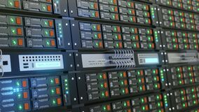 Close the server rack cluster in the data center with the selected focus, narrow depth field. The camera moves along the server wi