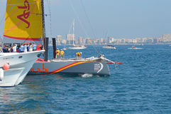 A Close Shave At The Volvo Ocean Race near Miss sailing yacht yachting boats Stock Photo