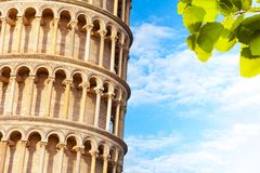 Close shoot of part of the Pisa leaning tower Royalty Free Stock Photo