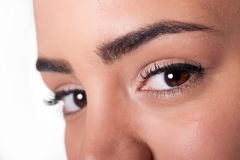 Close shot of attractive brown eyes Stock Photo