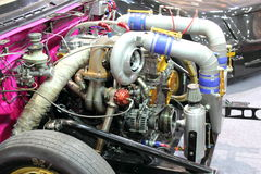 Close shot of a car engine showing tubes Stock Photos