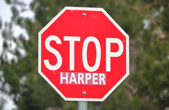 Close shot of a Common Stop Sign Used to Stop Canadian Conservative leader Stephen Harper royalty free stock image